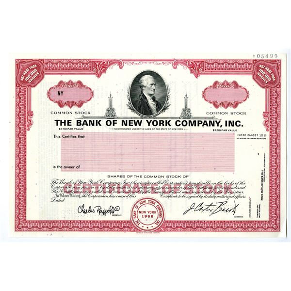 Bank of New York Co., Inc., 1970-90's Specimen Stock Certificate