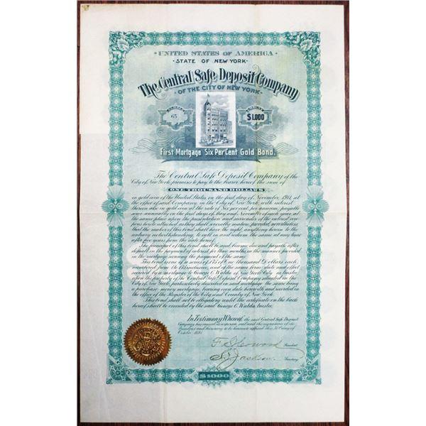 Central Safe Deposit Co. of the City of New York 1891 I/U Bond