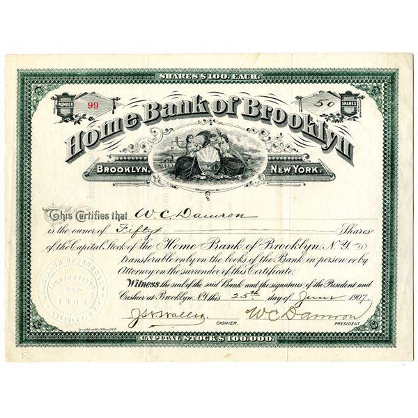 Home Bank of Brooklyn 1907 I/U Stock Certificate