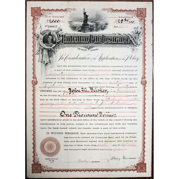 Manhattan Life Insurance of New York 1895 Issued Policy