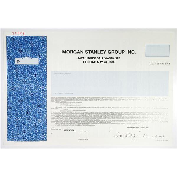 "Morgan Stanley Group Inc. 1994 Specimen ""Japan Index Call Warrants""."