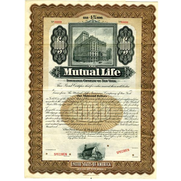 Mutual Life Insurance Co. of New York, 1900-1920 Specimen Bond