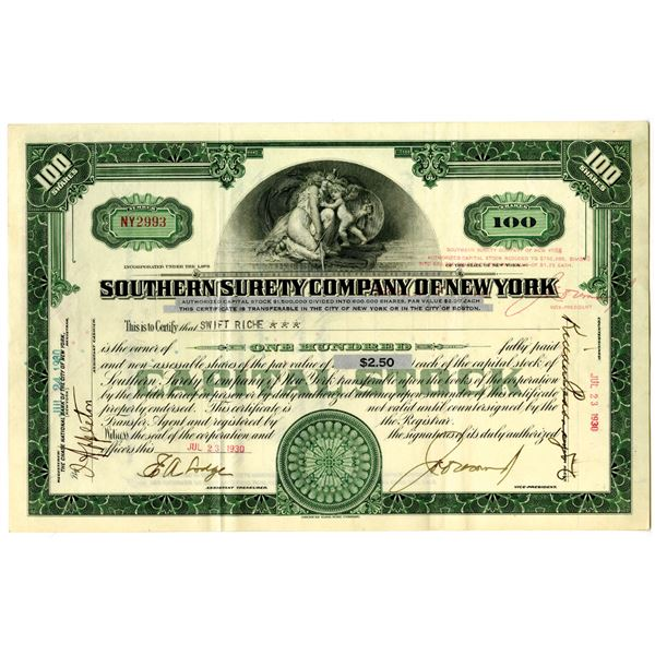Southern Surety Co. Of New York 1930 I/U Stock Certificate
