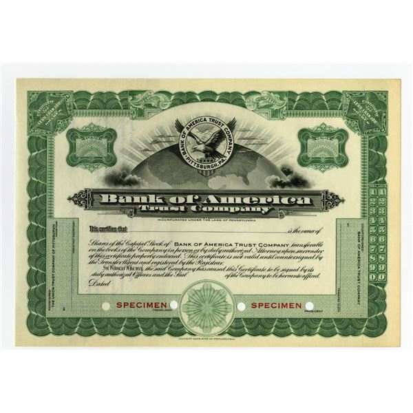 Bank of America Trust Co., 1910-30 Specimen Stock Certificate