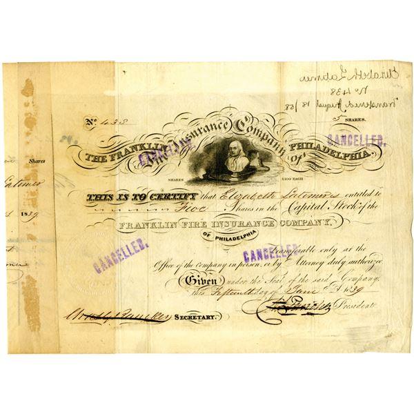 Franklin Fire Insurance Co. of Philadelphia 1839 Issued Stock Certificate