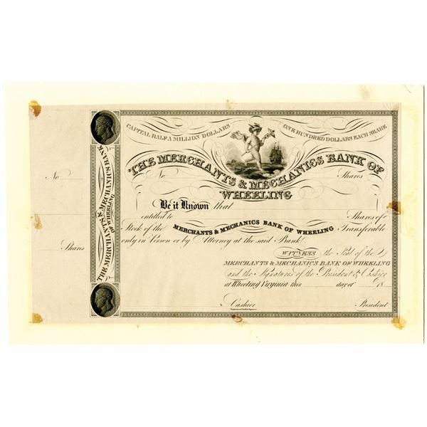 Merchants & Mechanics Bank of Wheeling, 1830's Proof Stock Certificate