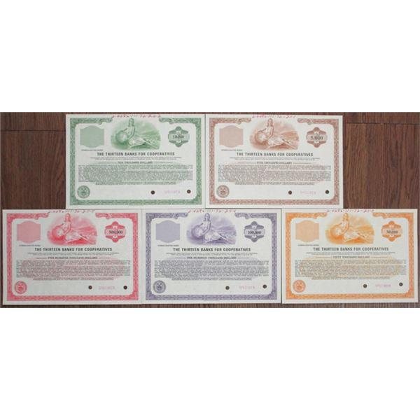 Thirteen Banks for Cooperatives, 1972 Specimen Bond Quintet