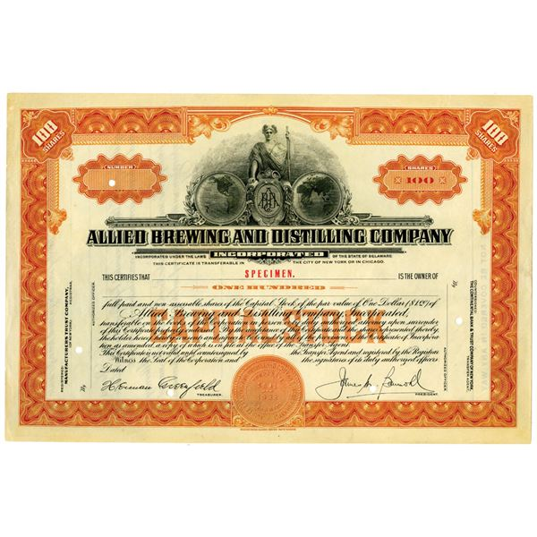 Allied Brewing and Distilling Co. Inc. Specimen Stock Certificate