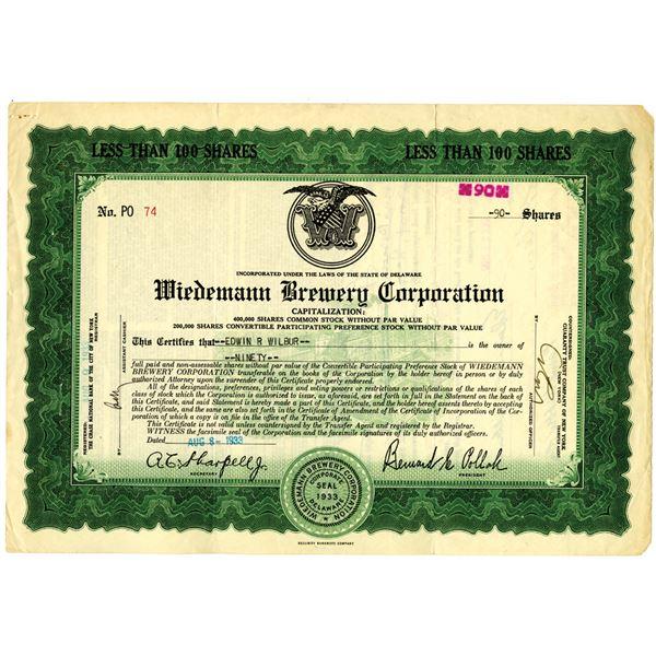 Wiedemann Brewing Corp. 1933 Issued Stock Certificate