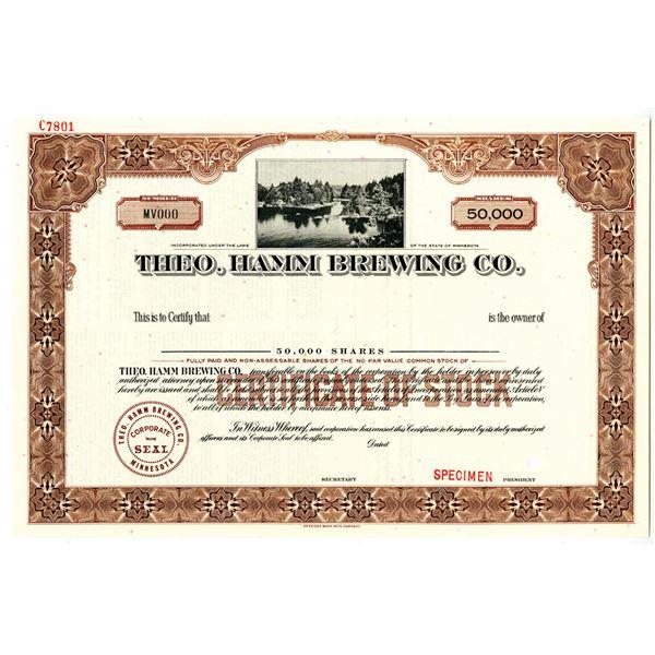 Theo. Hamm Brewing Co., ca.1940-50's, Specimen Stock Certificate.