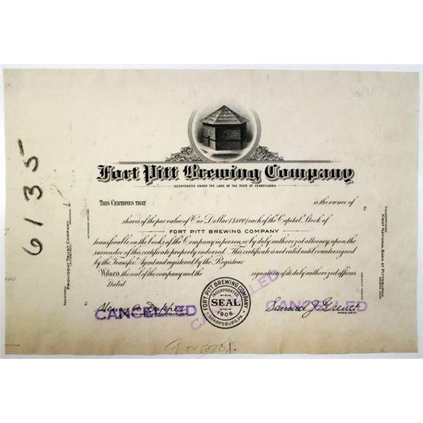 Fort Pitt Brewing Co., ca.1930's Progress Proof Stock Certificate