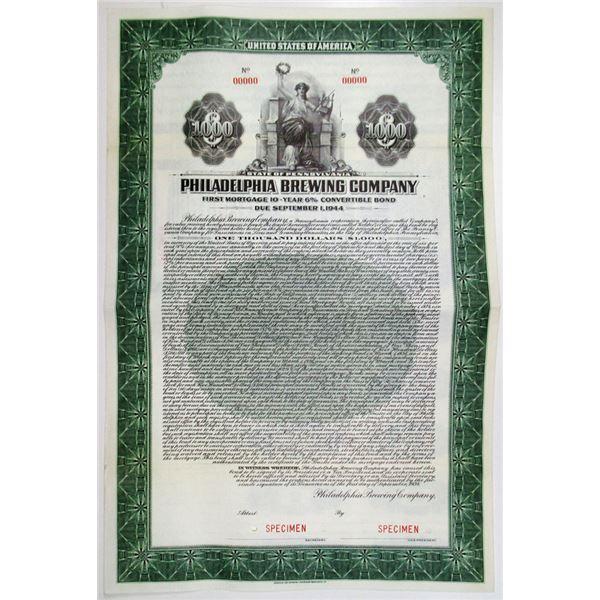Philadelphia Brewing Co. 1934 Specimen Bond