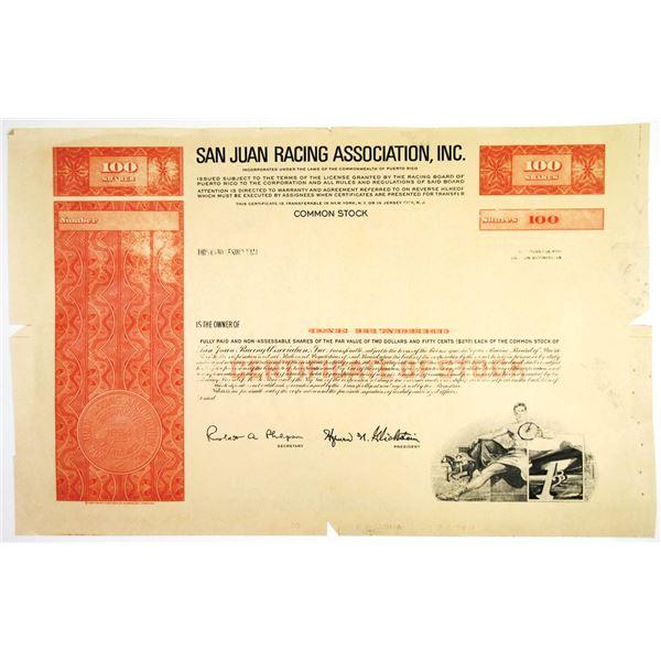 Puerto Rico. San Juan Racing Association, Inc., 1960-70's Proof Stock Certificate
