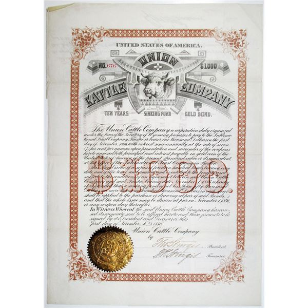 Union Cattle Co. 1886 I/U Bond Signed by Entrepreneur Thomas Sturgis.