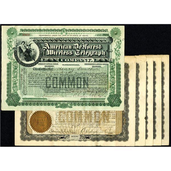 American DeForest Wireless Telegraph Co., ca.1905-1906 Stock Certificate Assortment.