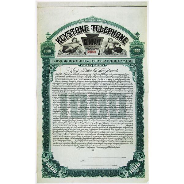Keystone Telephone Co. of Philadelphia 1905 Specimen Bond