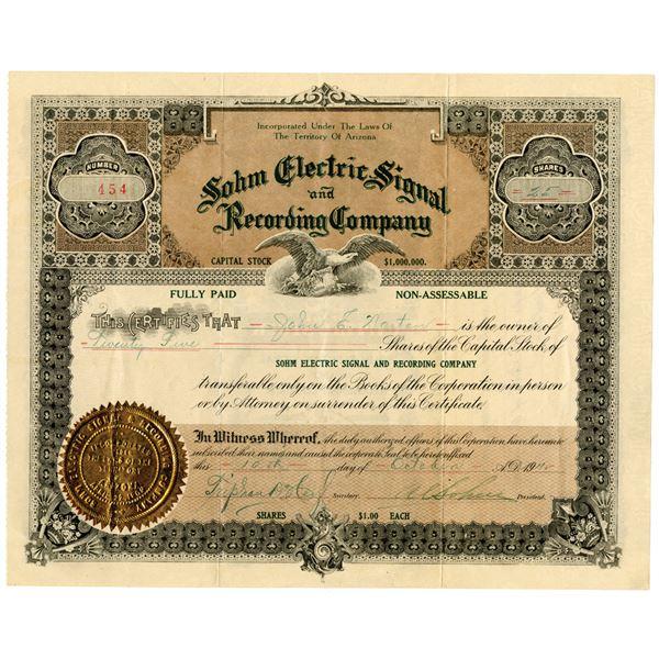 Sohm Electric Signal and Recording Co. 1911 I/U Stock Certificate