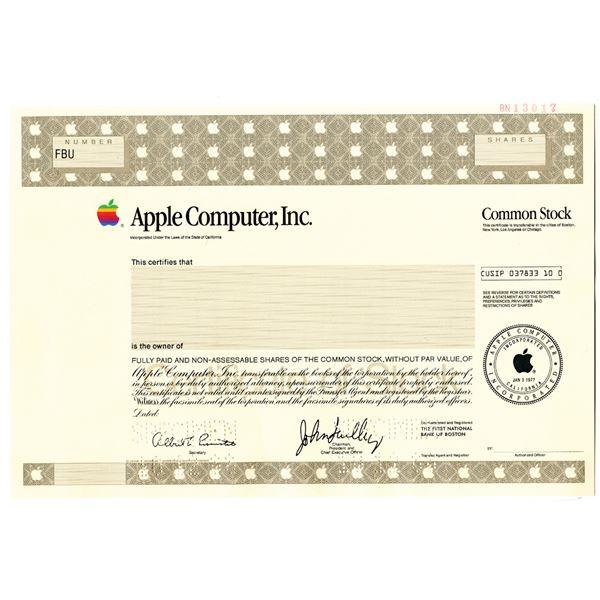 Apple Computer, Inc. 1988 Specimen Stock Certificate