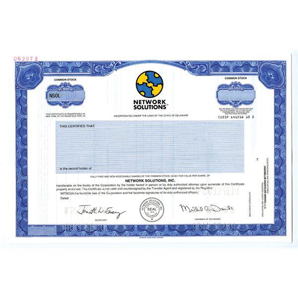 Network Solutions, Inc. 1999 Specimen Stock Certificate