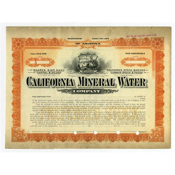 California Mineral Water Co. 1907 Specimen Stock Certificate
