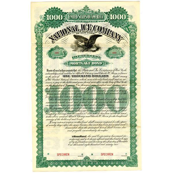 National Ice Co. of New York 1892 Specimen Bond
