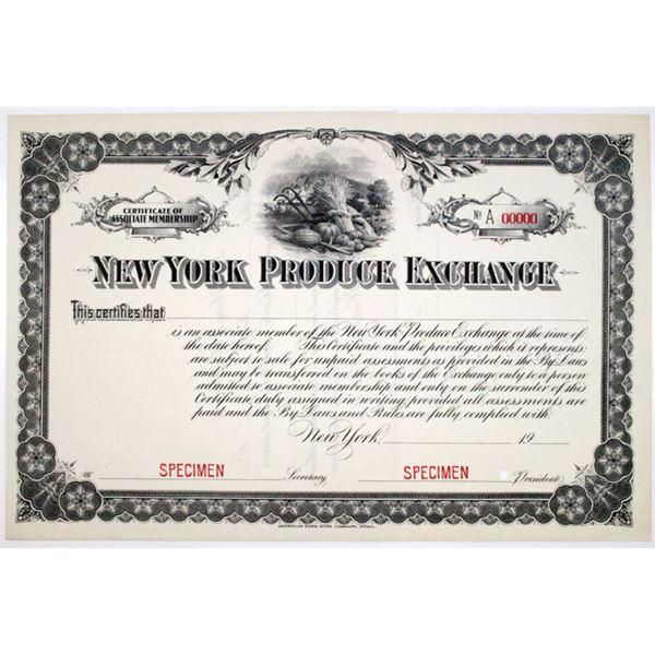 New York Produce Exchange. Ca.1900-1910 Specimen Certificate of Associate Membership