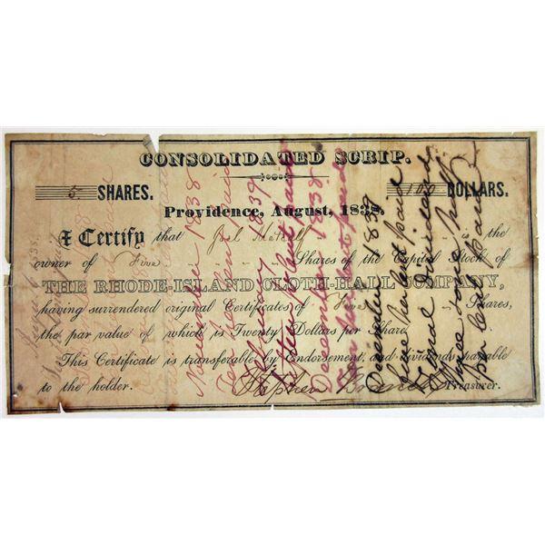 Rhode-Island Cloth-Hall Co. 1838 I/U Stock Certificate Scrip
