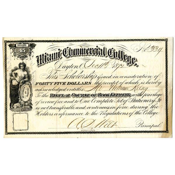 Miami Commercial College, 1872 Scholarship Receipt
