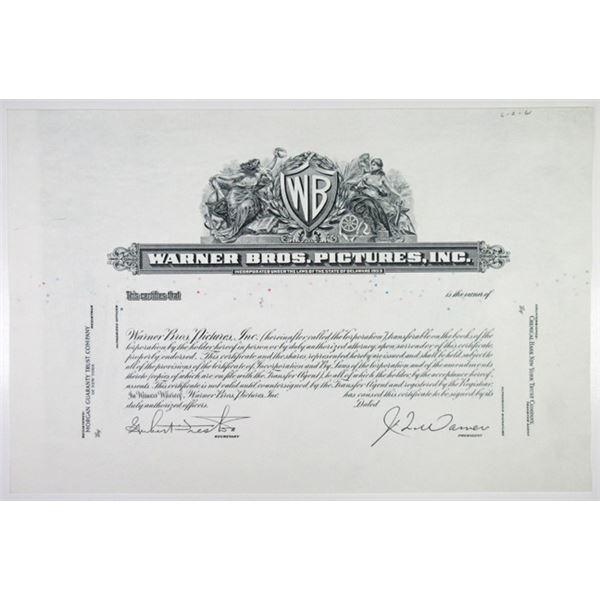Warner Bros. Pictures, Inc., 1950-60's, Progress Proof Stock Certificate.