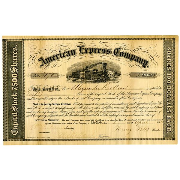 American Express Co. 1858 Issued Stock Certificate Signed by Henry Wells and William Fargo