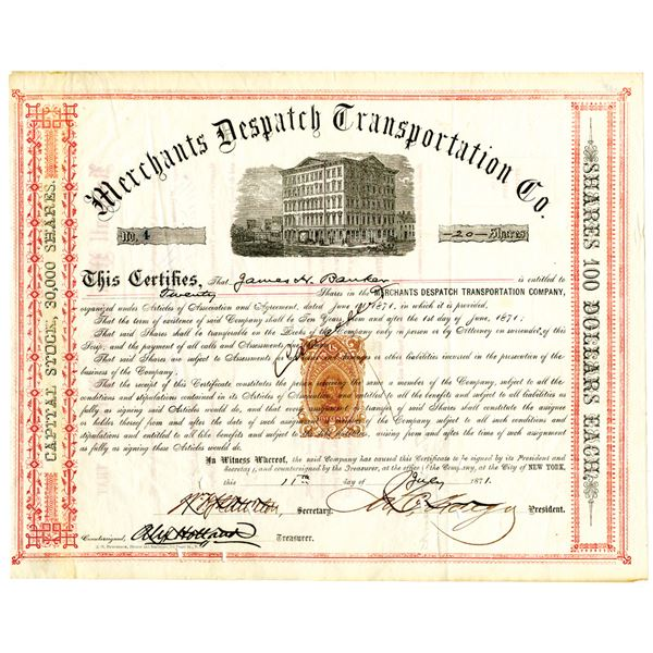 Merchants Dispatch Transportation Co. 1871 I/C Stock Certificate Signed by James C. Fargo with Rare