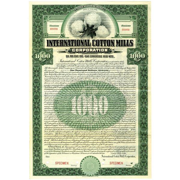 International Cotton Mills Corp. 1911 Specimen Bond