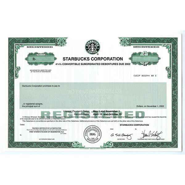 Starbucks Corp. 1990s Specimen Bond