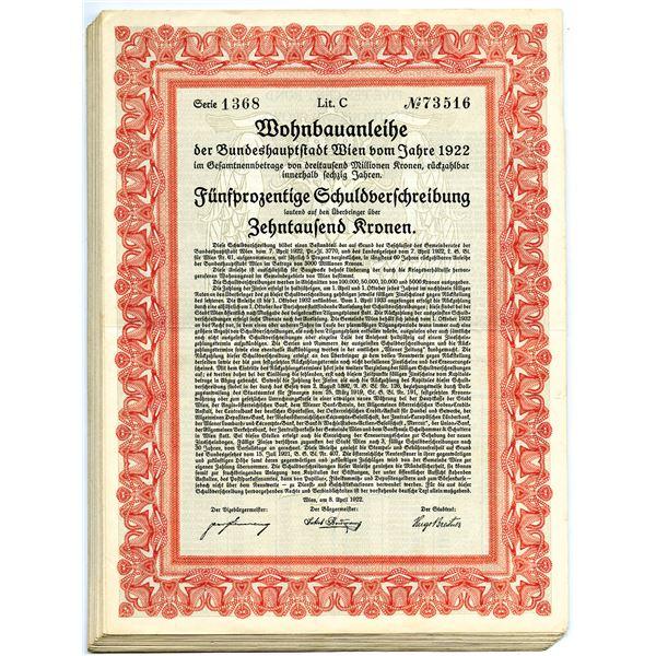 City of Vienna, Dwellings Building Loan, 1922 Group of 23 I/U Bonds