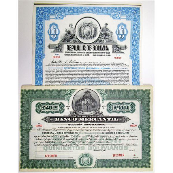 Republic of Bolivia and Banco Mercantil Specimen Bond Pair, ca. 1920s
