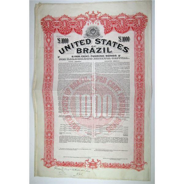 United States of Brazil, 1901 Approval Proof Bond