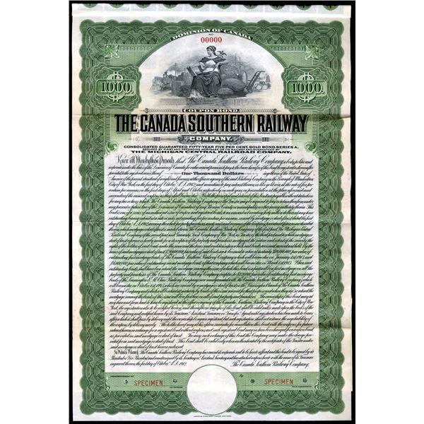Canada Southern Railway Co., 1912, Gold Bond Specimen.