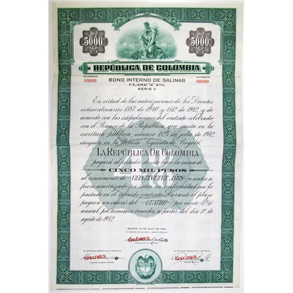 Republica de Colombia, 1942 Specimen Bond
