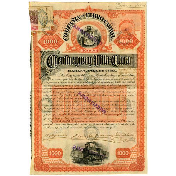 Compania del Ferro-Carril entre Cienfuegos y Villa-Clara 1893 I/U Coupon Railroad Bond