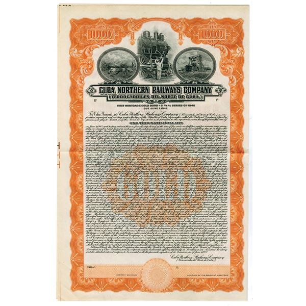 Cuba Northern Railways Co., 1927 Specimen Bond