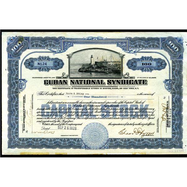 Cuban National Syndicate, 1928 I/U Stock Certificate.