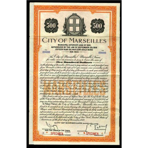 City of Marseilles 1919 Specimen Bond
