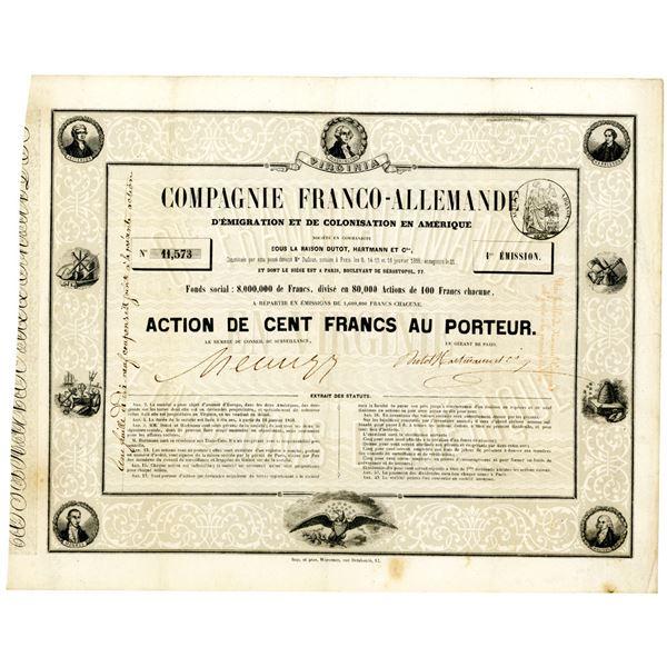 Compagnie Franco-Allemande d'Emigration et de Colonisation en Amerique, 1856 I/U Stock Certificate