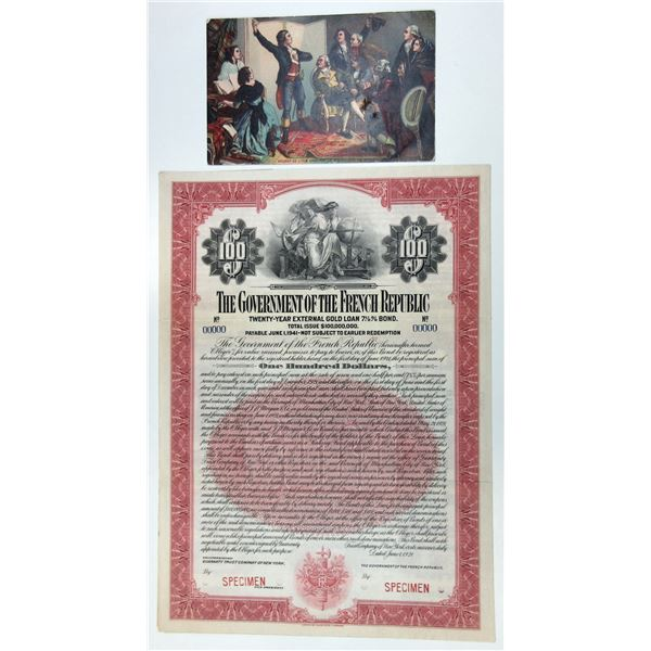 Government of the French Republic 1921 Specimen Bond & Postcard