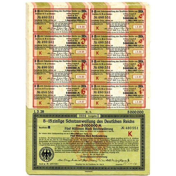 Reichsschuldenverwaltung, German Bonds Group of 20 pieces, All are 5 Million Mark bonds with Coupons