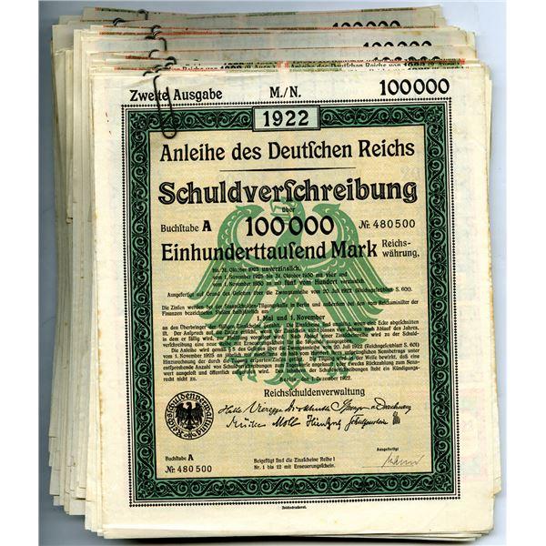 Reichsschuldenverwaltung, Group of 34 Issued German Bonds