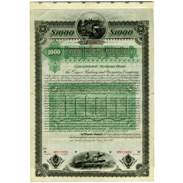 Oregon Railway and Navigation Co., 1885 Unique Specimen Bond Rarity to be Issued and For Use in Germ