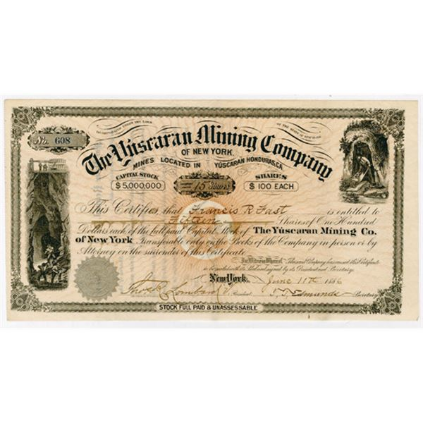 Yuscaran Mining Co., 1886 Issued Stock Certificate