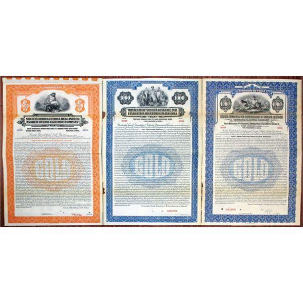 Italian Agricultural and Utility Specimen Bond Trio, ca.1926-27