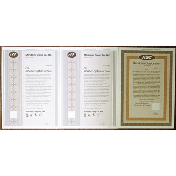 Marutomi Group Co., Ltd. & Kanaden Corp. Issued Bond Trio, 1991